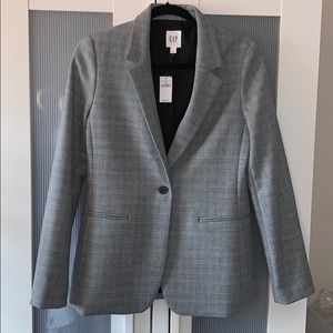 Gap oversized glen plaid girlfriend blazer